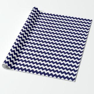 Papier Cadeau Rayure nautique de Chevron de zigzag de bleu