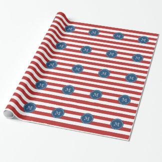 Papier Cadeau Rayures blanches rouges motif, monogramme de bleu