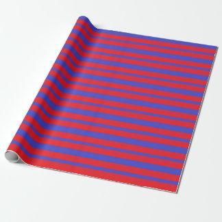 Papier Cadeau Rayures bleues et rouges épaisses et minces