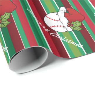 Papier Cadeau Rayures de base-ball de sport de Noël