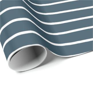 Papier Cadeau Rayures de blanc de bleu marine