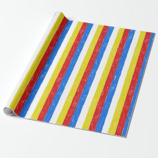 Papier Cadeau Rayures de crayon de couleur primaire