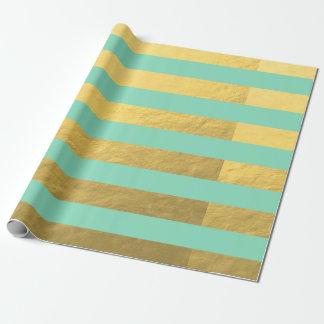 Papier Cadeau Rayures de menthe et de feuille d'or imprimées