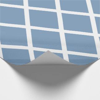 Papier Cadeau Rayures diagonales blanches de trellis sur le bleu