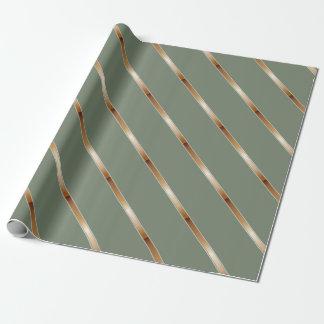 Papier Cadeau Rayures diagonales métalliques de cuivre épaisses