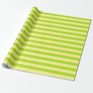 Papier Cadeau Rayures doucement de jaune et de vert de chaux