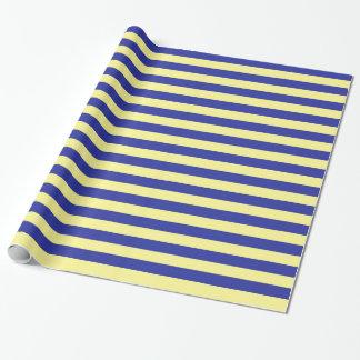 Papier Cadeau Rayures doucement jaunes et bleues