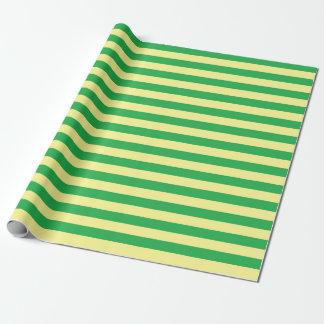 Papier Cadeau Rayures doucement jaunes et vertes