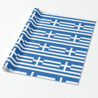 Papier Cadeau Rayures et croix blanches bleues de la Grèce