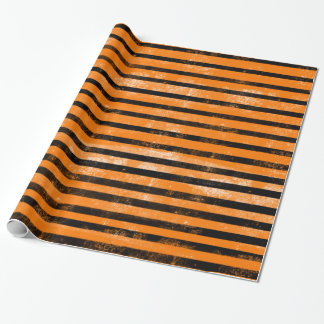 Papier Cadeau Rayures grunges noires oranges de texture de