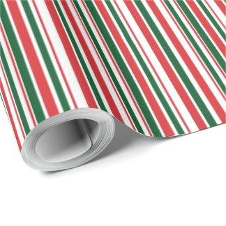 Papier Cadeau Rayures minces blanches vertes rouges