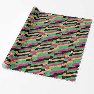 Papier Cadeau Rayures multicolores diagonales vibrantes
