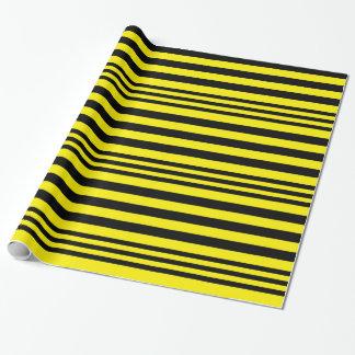 Papier Cadeau Rayures noires et jaunes X 3