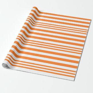 Papier Cadeau Rayures oranges et blanches X 3