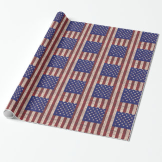 Papier Cadeau Rayures orientées et étoiles de drapeau grunge des