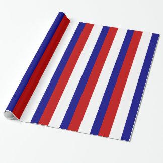 Papier Cadeau Rayures patriotiques blanches et bleues rouges