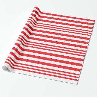 Papier Cadeau Rayures rouges et blanches X 3