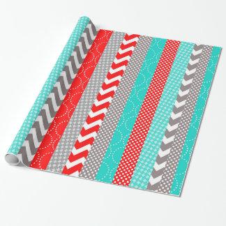 Papier Cadeau Rayures rouges et turquoises au néon lumineuses de