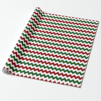 Papier Cadeau Rayures vertes blanches rouges de Chevron de