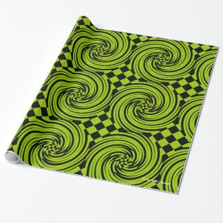 Papier Cadeau Remous abstrait de diamant - vert/noir