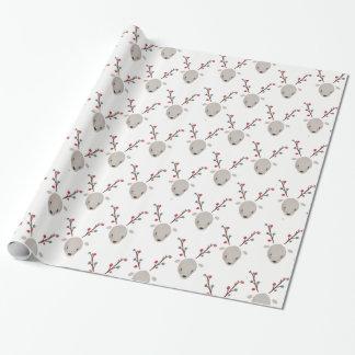 Papier Cadeau Renne adorable de cerfs communs d'aquarelle