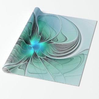 Papier Cadeau Résumé avec l'art bleu et moderne de fractale