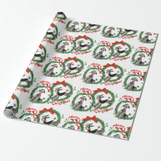 Papier Cadeau Rétro guirlande adorable de caniches de Noël