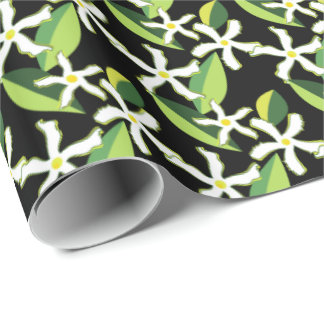 Papier Cadeau Rétro motif abstrait floral de jasmin