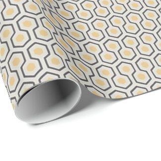 Papier Cadeau Rétro motif de grille coloré de nid d'abeilles