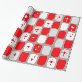 Papier Cadeau Rétro papier d'emballage rouge de Starbursts (gros