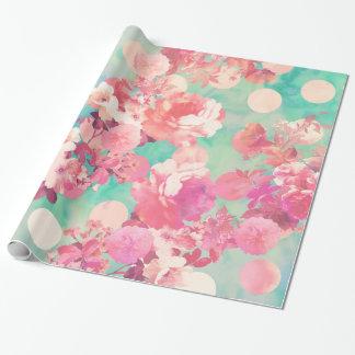 Papier Cadeau Rétro pois floral rose romantique de Teal de motif