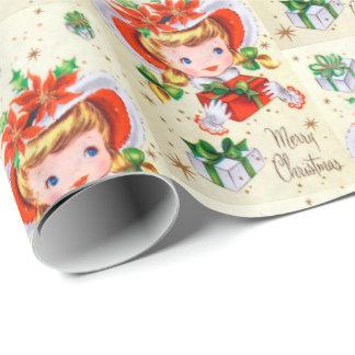 Papier Cadeau Rétro sac vintage de partie de fille de Noël