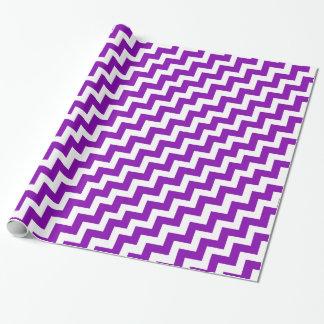 Papier Cadeau Rétro zigzag pourpre et blanc de Chevron à la mode