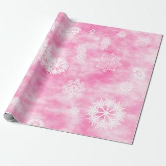 Papier Cadeau Rose d'automne de flocons de neige