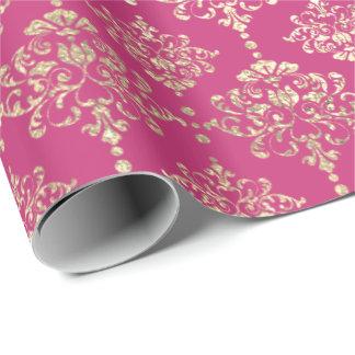 Papier Cadeau Rose lumineux métallique royal de rose de Faux