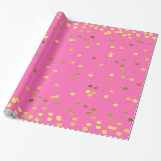 Papier Cadeau Roses indien de confettis de feuille d'or