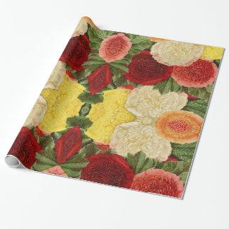 Papier Cadeau Roses jaunes roses blancs rouges vintages antiques