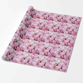 Papier Cadeau Roses romantiques roses