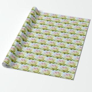 Papier Cadeau ROSES VERTS ET ROSES de papier d'emballage