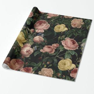 Papier Cadeau Roses vintages de fleur et rêves Motif-Foncés
