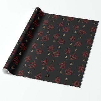 Papier Cadeau Rouge et enveloppe de cadeau de Chinoiserie de