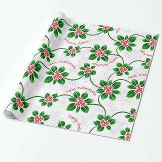 Papier Cadeau Rouge hawaïen de Noël de Mele Kalikimaka de houx