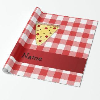 Papier Cadeau Rouge mignon nommé personnalisé de pizza checkered