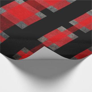 Papier Cadeau Rouge, noir et gris urbains modernes de tartan de