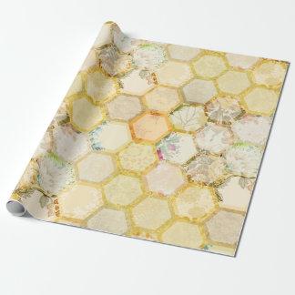 Papier Cadeau Ruche florale de nid d'abeilles d'abeille de miel