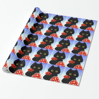 Papier Cadeau Saint-Valentin Creationarts de souris de chat noir