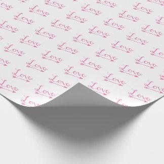 Papier Cadeau Saint-Valentin rose et blanche de flèche d'amour