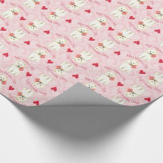 Papier Cadeau Samoyed rose de Valentine