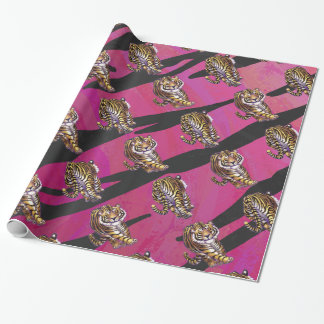 Papier Cadeau Sauvage je noir et rose de tigre