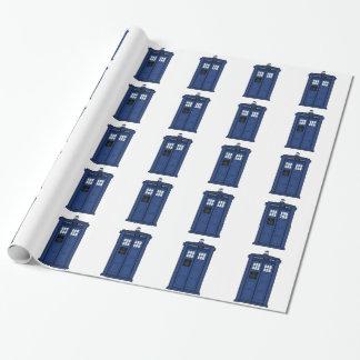Papier Cadeau SciFi bleu spécial de geek de boîte de POLICE